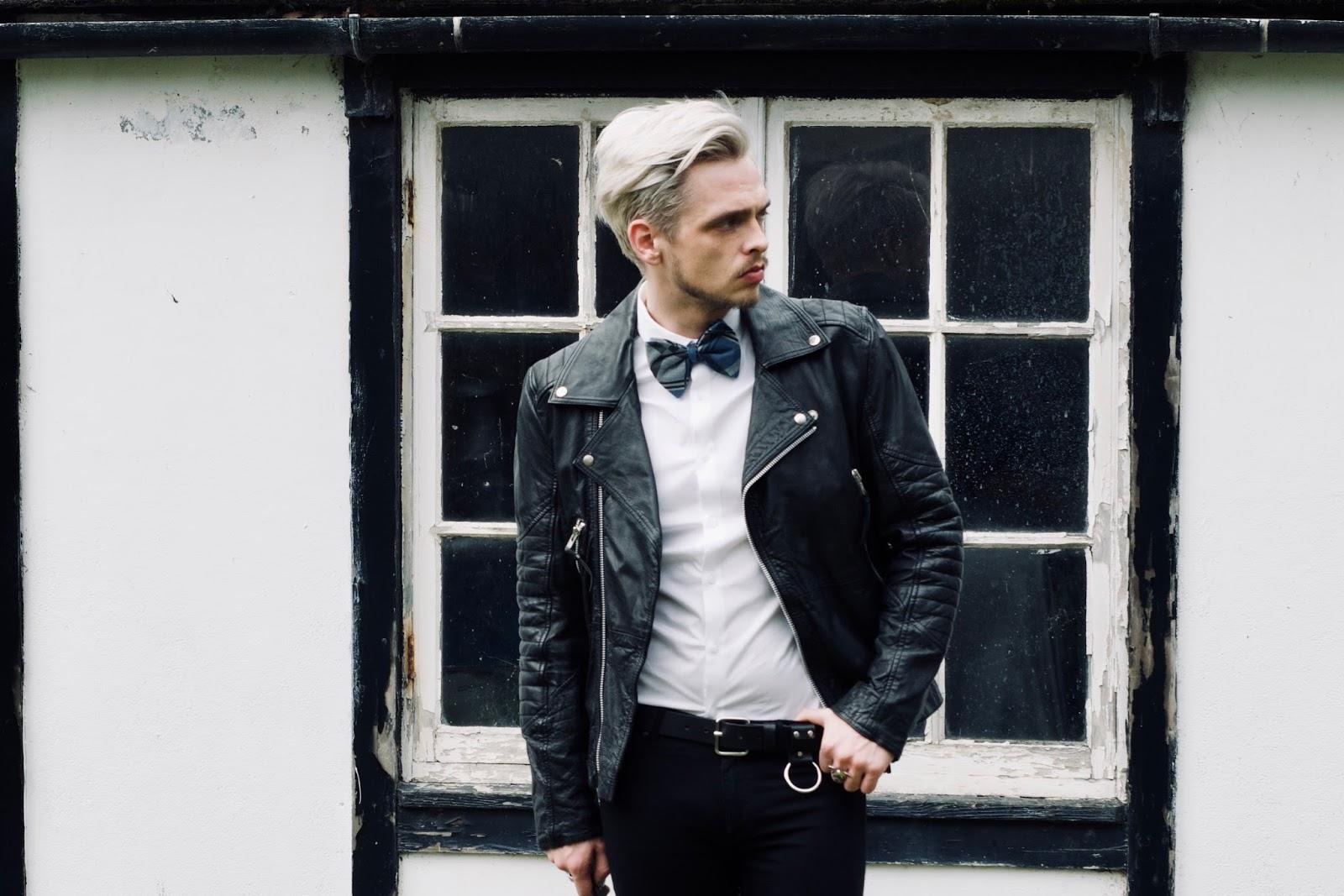 mens style bow tie biker