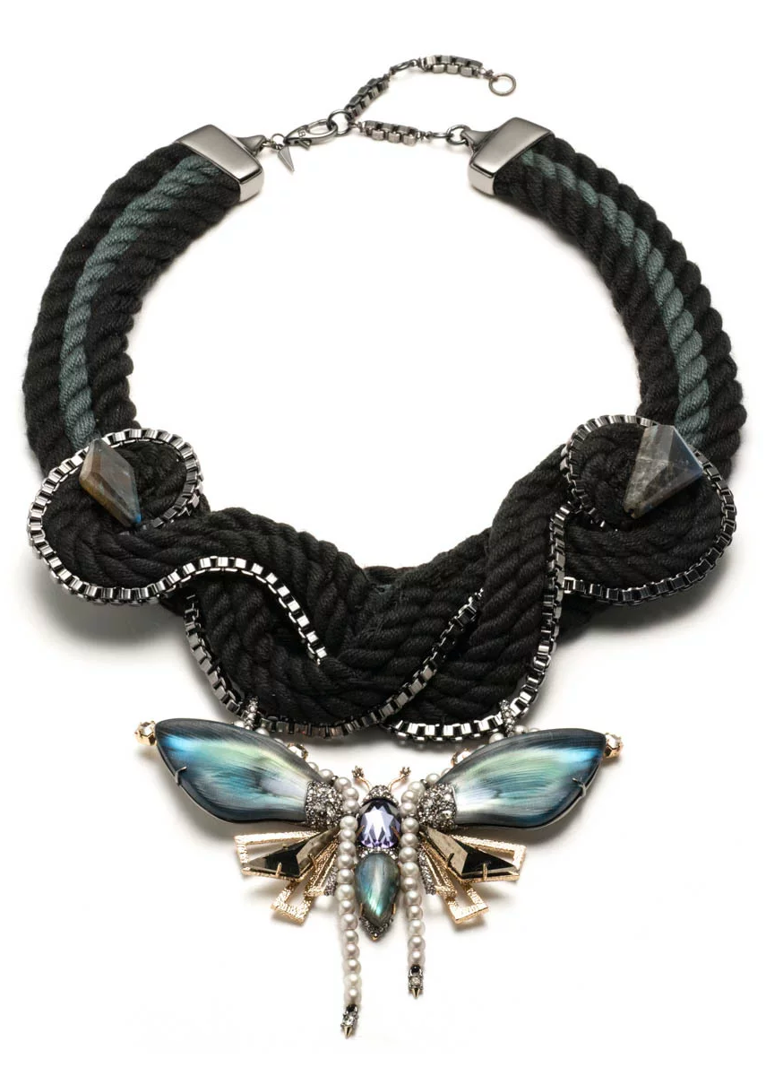 Alexis Bittar Brutalist Butterfly Large Corded Bib Necklace