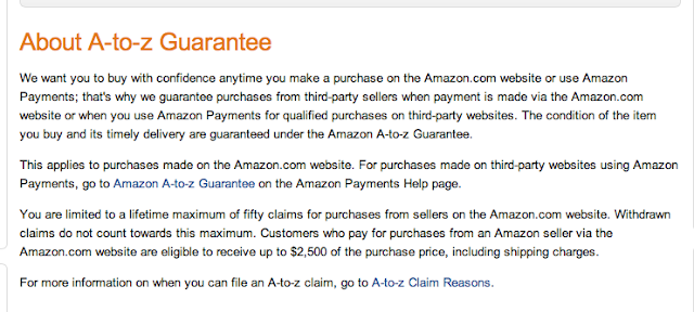 Amazon A-to-Z Guarantee covers purchase up to $2,500. within 30 days of shipment