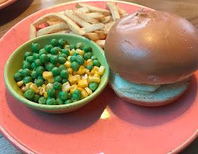 kid meal burger fries and peas at las iguanas