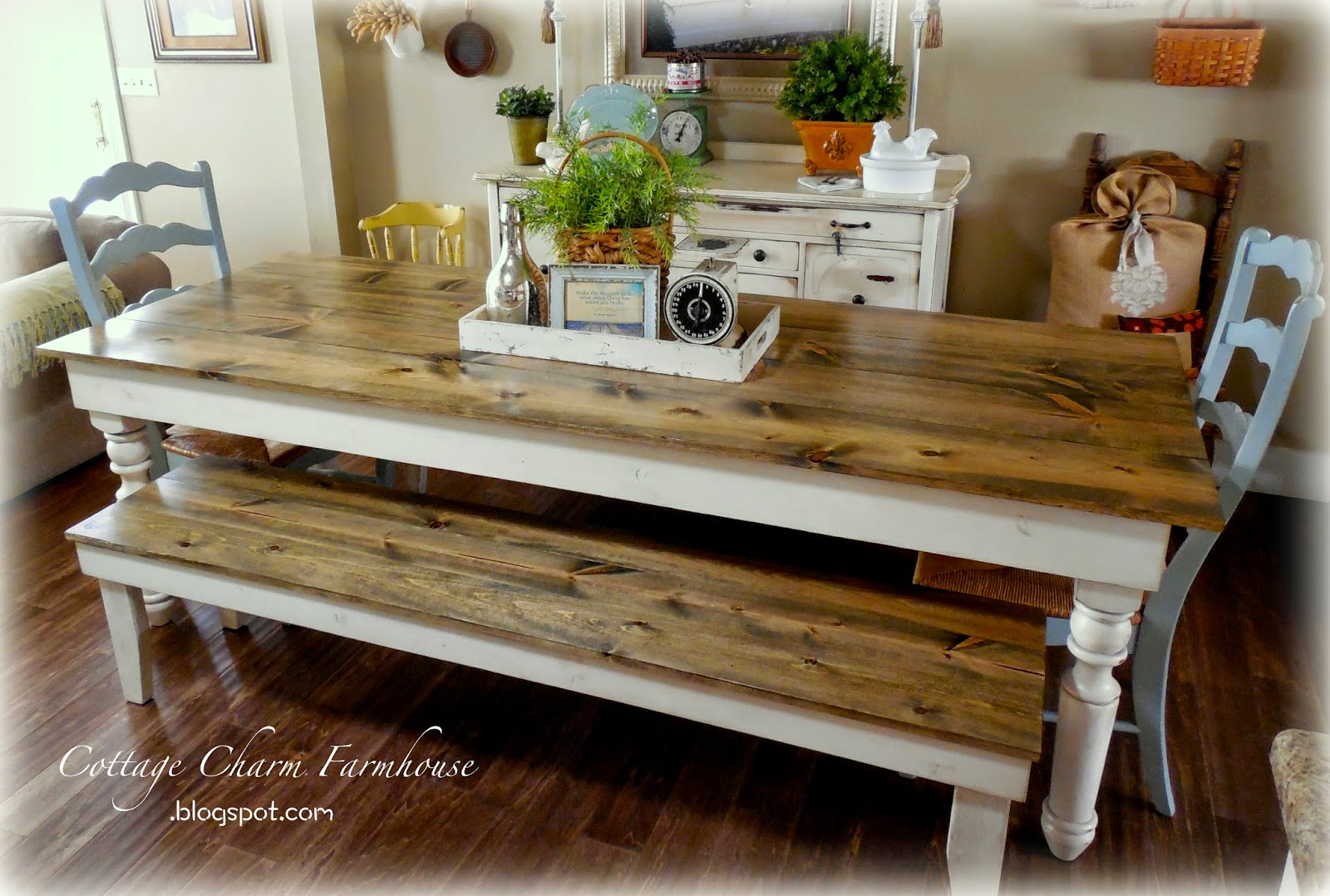 Cottage charm creations old english farmhouse tables for Cottage charm farmhouse