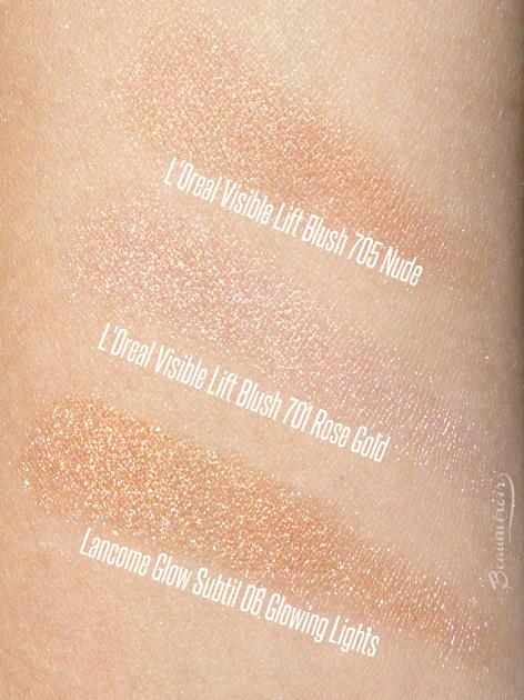 Lancome Glow Subtil Silky Creme Highlighter vs L'Oreal Visible Lift cream blush