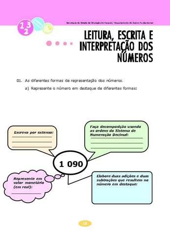 Leitura, Escrita e Interpretação dos Números.
