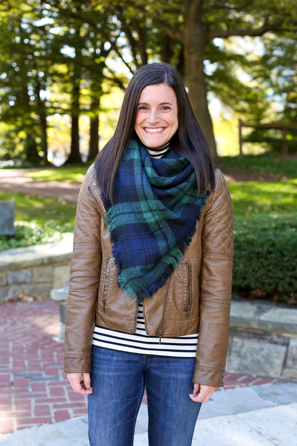 leather jacket and blanket scarf for fall, striped turtleneck for fall