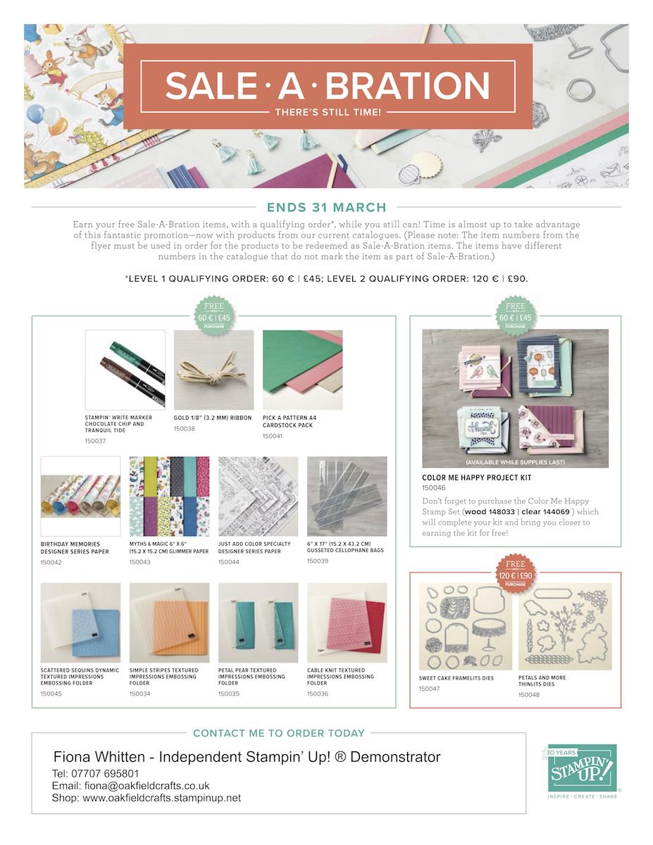 Sale-A-Bration, Oakfield Crafts, Stampin' Up! UK, 3rd release Sale-a-bration