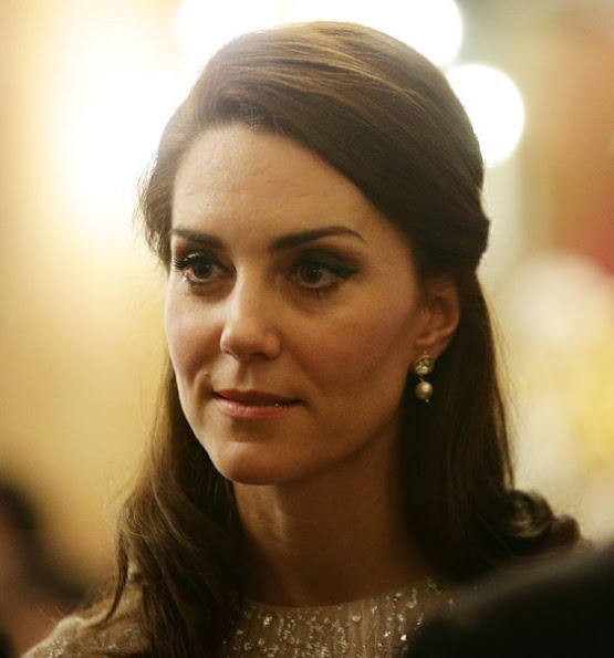 Kate Middleton, Duchess Catherine of of Cambridge wore Rhona Silver Dress, Mette-Marit wore same Erdem Dress