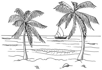 Sketsa Pemandangan Pantai Traffic Club