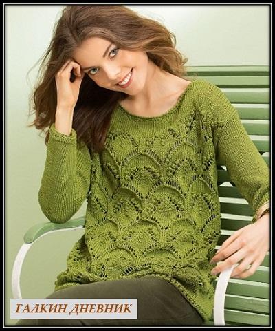 47708651abb1 Мастера и умники: Зеленый пуловер спицами с крупным ажурным узором