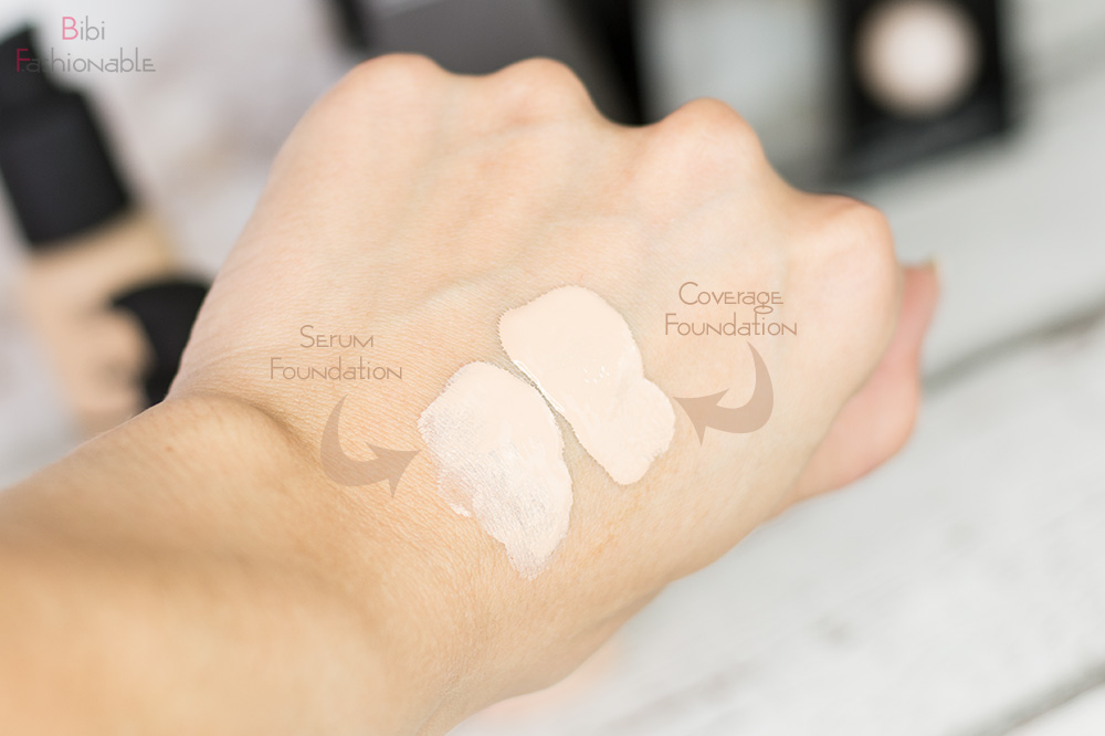 The Ordinary Serum und Coverage Foundation Swatches