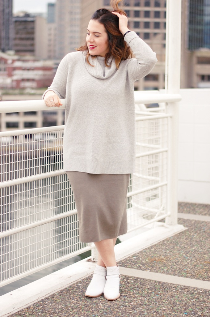 Vince turtleneck sweater and Oak and Fort midi pencil skirt