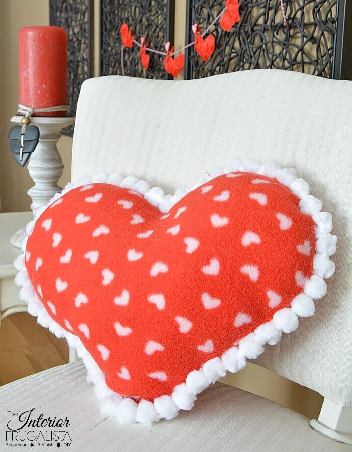 Fleece Valentine Heart Pillow