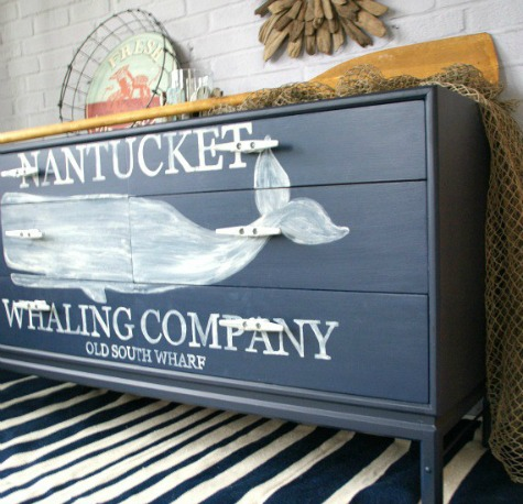 Painted Nautical Dresser with Whale Motif