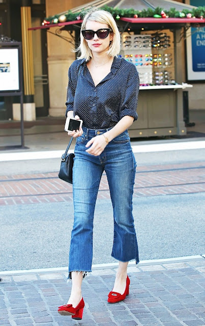 heeled loafers red jeans blouse celebrity street style fashion