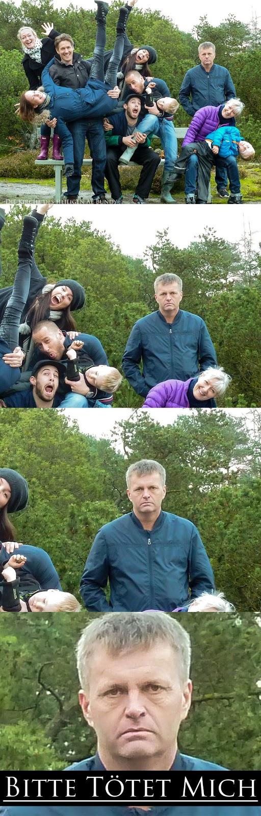 Freunde machen lustiges Gruppenfoto mit Miesepeter lustig