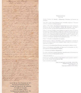 Lei nº 440, 18-12-1871. Criação da Freguesia São Sebastião. Povoação do Triumpho