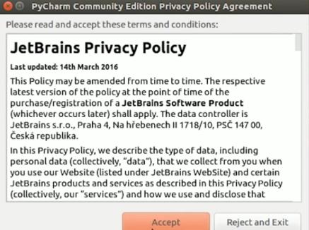 Termos de uso IDE PyCharm