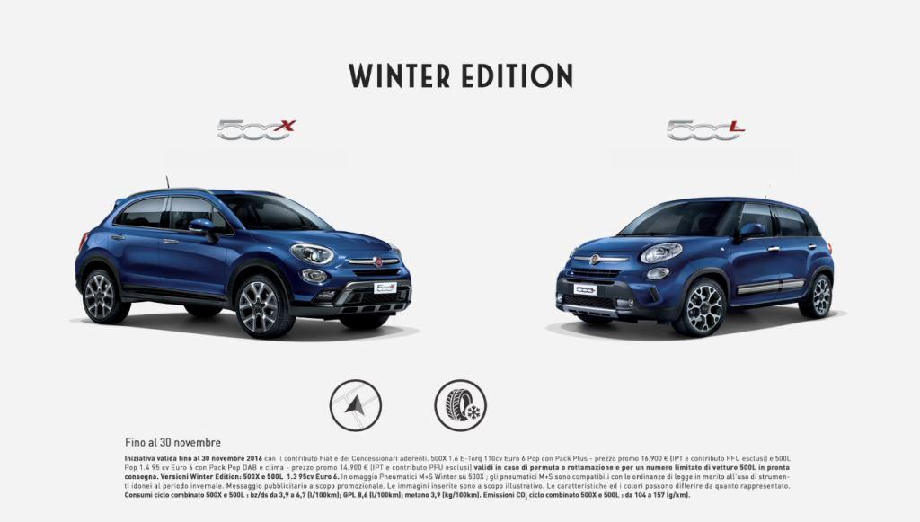 Pubblicità Fiat 500X e 500L Winter Edition con Foto - Testimonial Spot Pubblicitario Fiat 2016