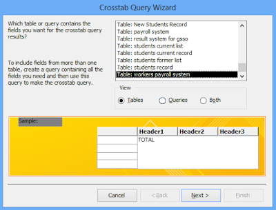 Select the data source for the crosstab query