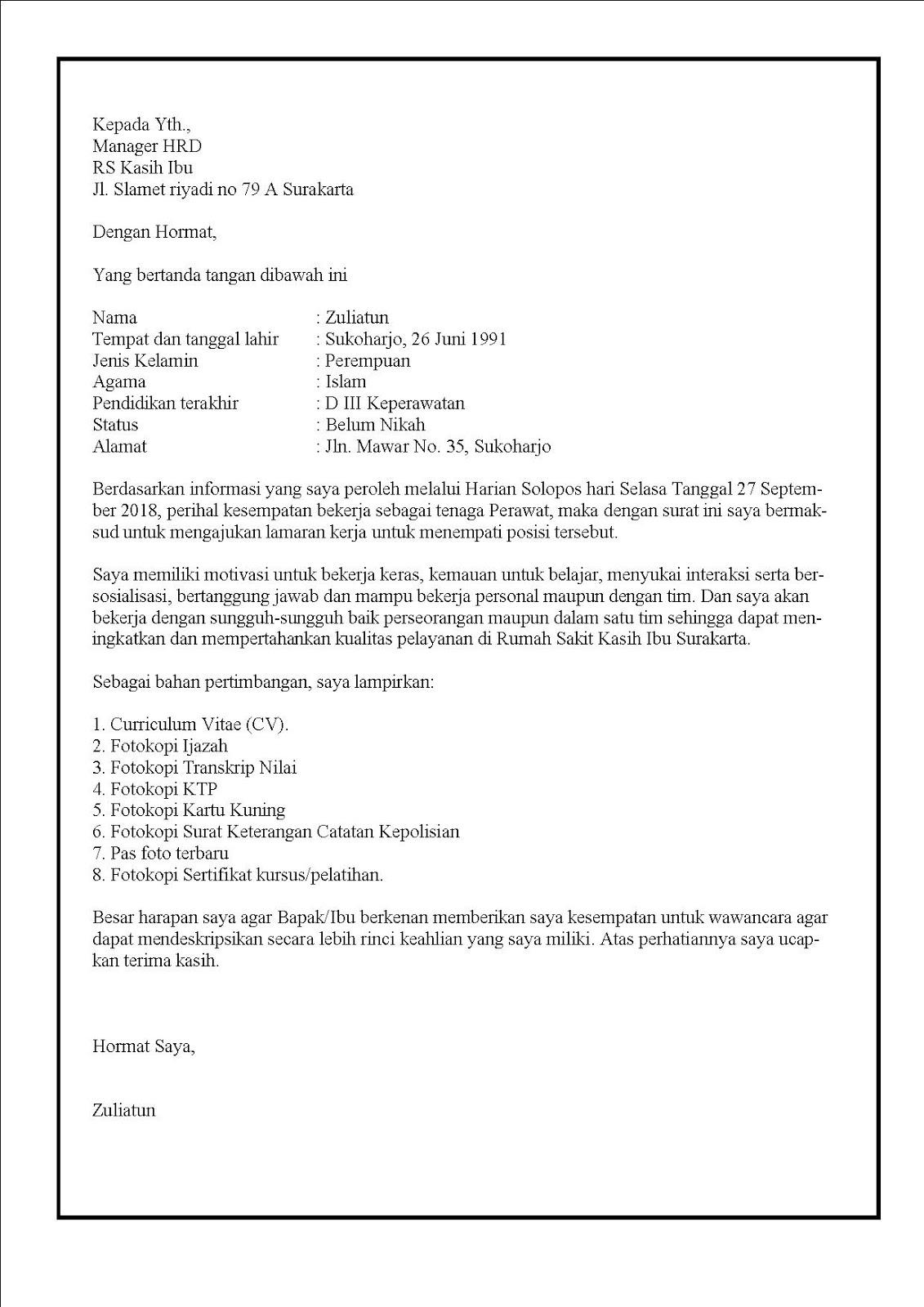 Contoh surat lamaran kerja di rumah sakit swasta