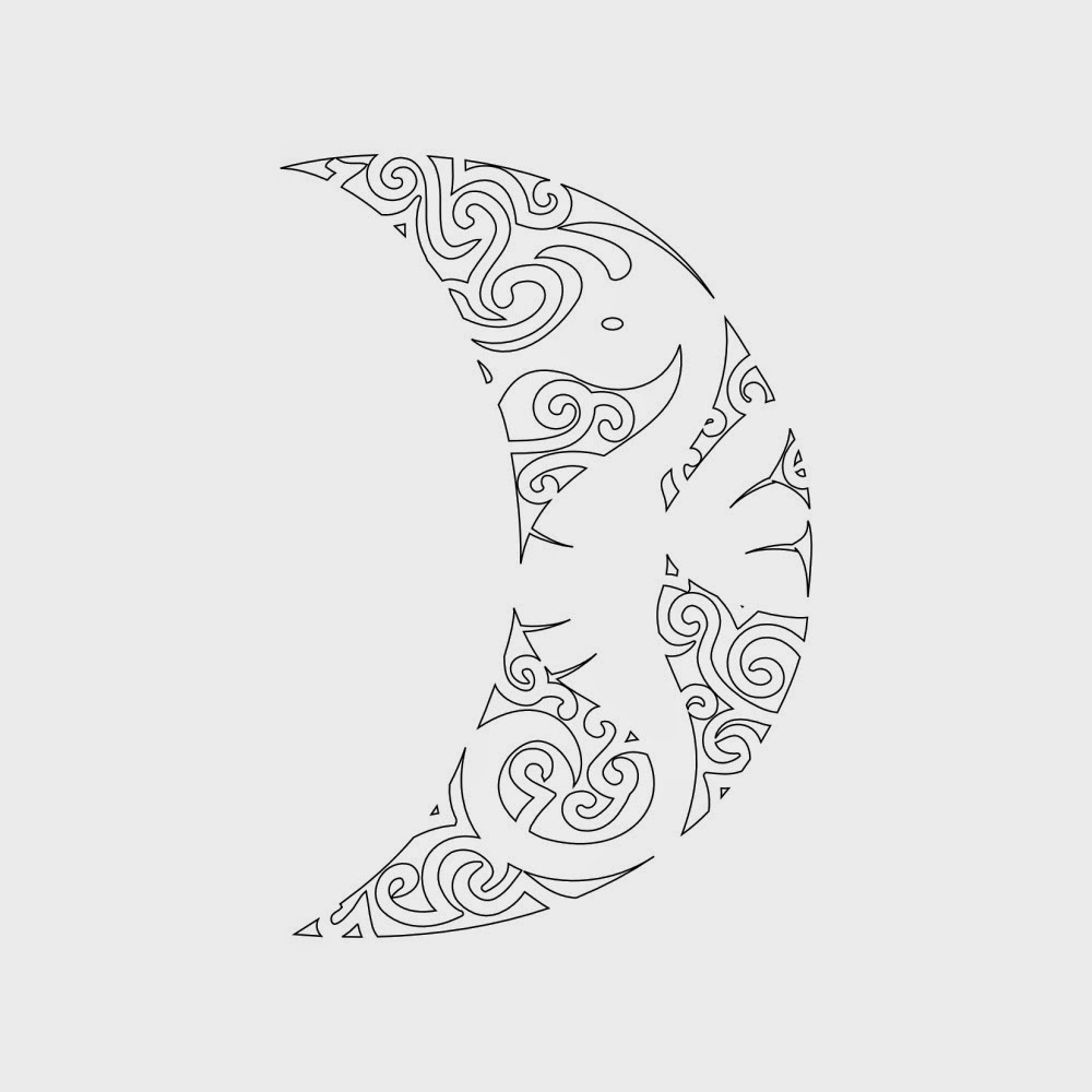 Seahorse in the moon tribal tattoo stencil