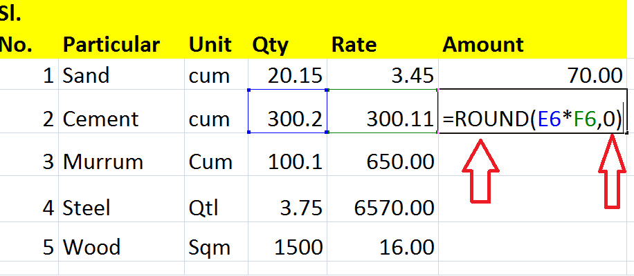 how to use round off formula in excel