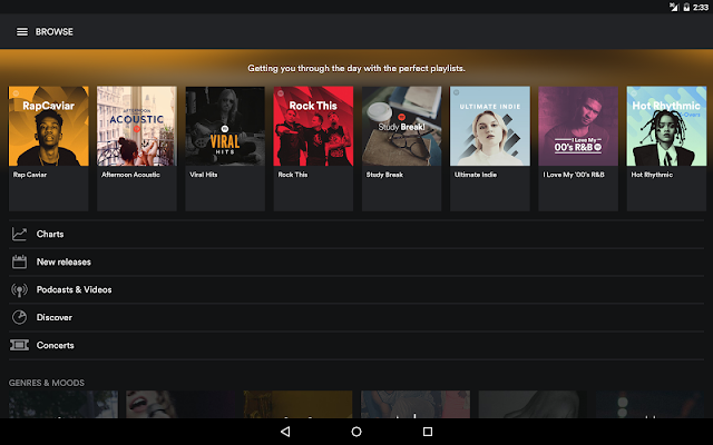 Main Interface of Spotify Premium