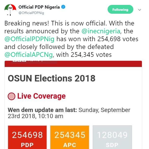 #OSUNDECIDES2018 PDP announces victory in the 2018 Osun elections