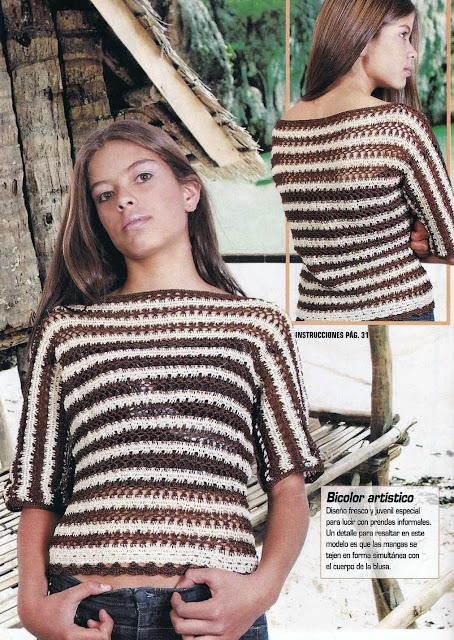 Patrón #1128: Blusa de Rayas a Crochet