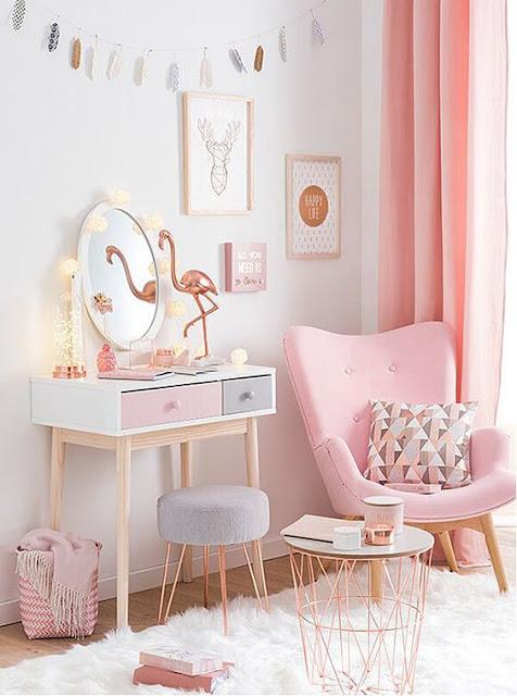 ruangan tema blushed pink