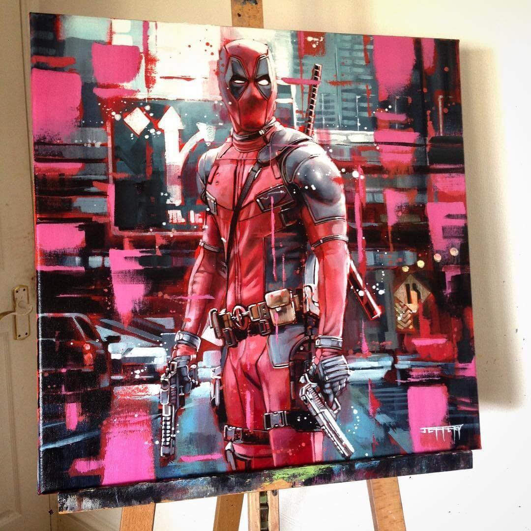 13-Ryan-Reynolds-Deadpool-Ben-Jeffery-Superhero-and-Villain-Movie-Paintings-www-designstack-co