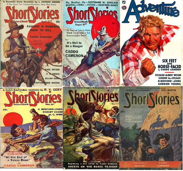 A selection of covers from magazines featuring stories by Caddo Cameron (Charles Richard Beeler)