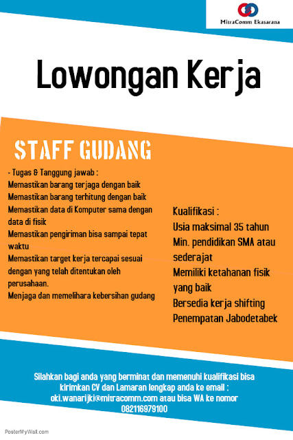Lowongan Kerja Staff Gudang PT Mitracomm Ekasarana