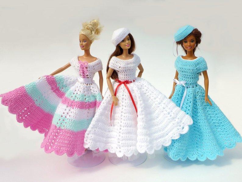 Patrones De Vestidos Tejidos A Crochet Para Barbies Ll