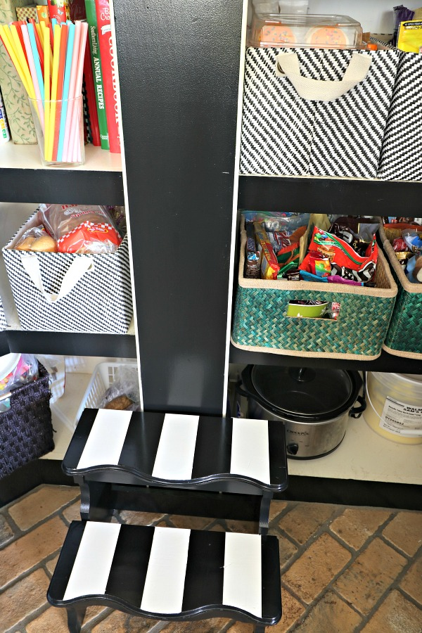 kitchen organization, pantry, pantry storage, striped step stool