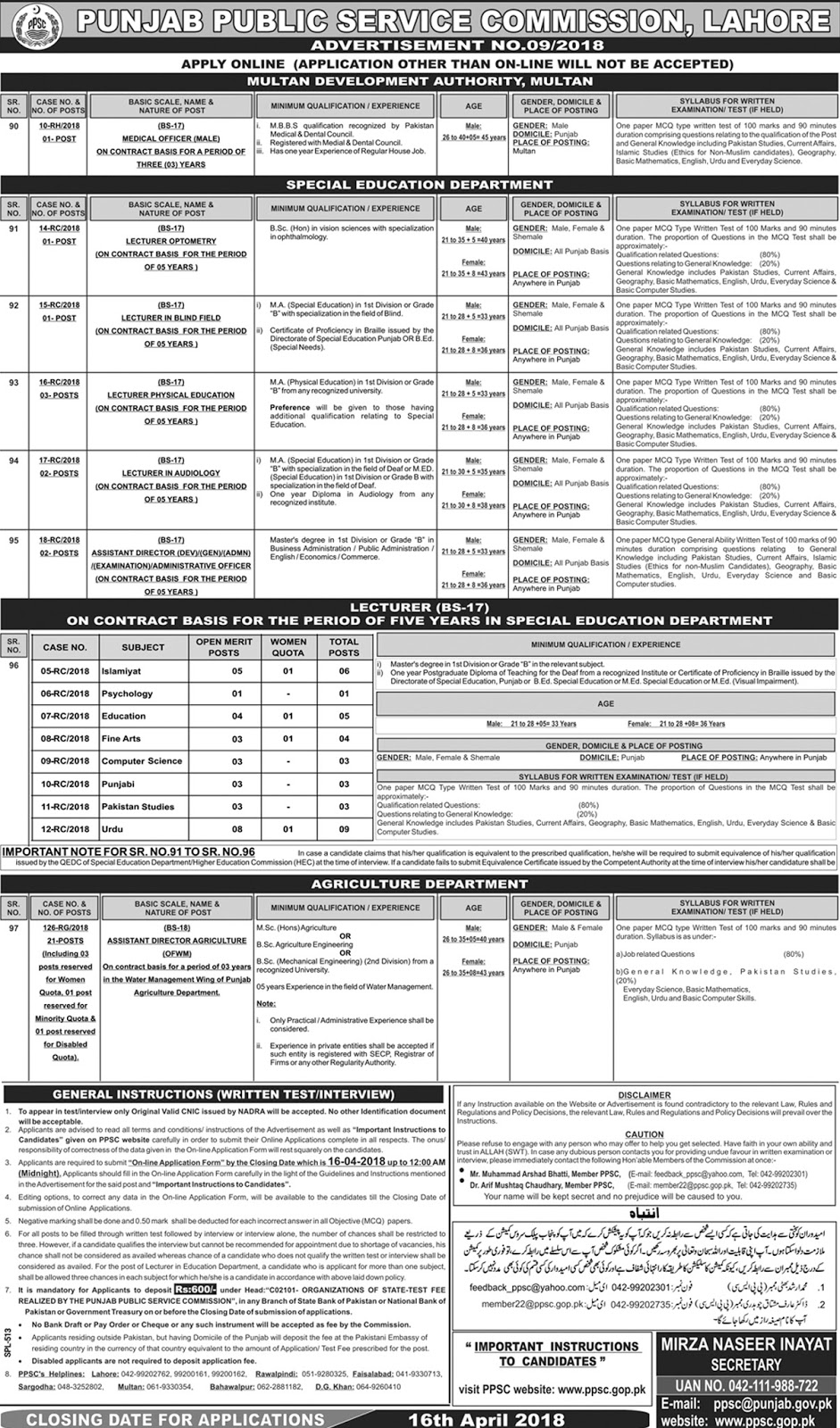 Jobs In Punjab Public Service Commission PPSC April 2018 - Apply Online