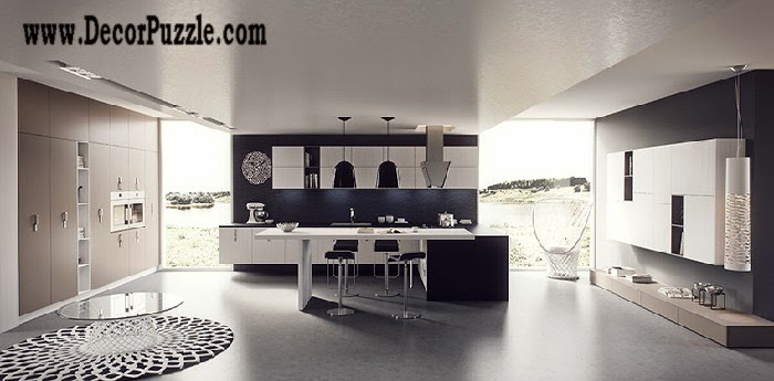 Minimalist kitchen design and style, modern black and white kitchen 2018