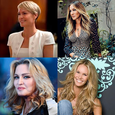 Image showing four famous women over the age of 50: Robin Wright, Sarah Jessica Parker, Madonna and Elle McPherson