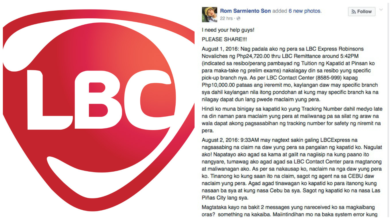 Customer slams LBC for alleged slow action on Pera Padala dispute