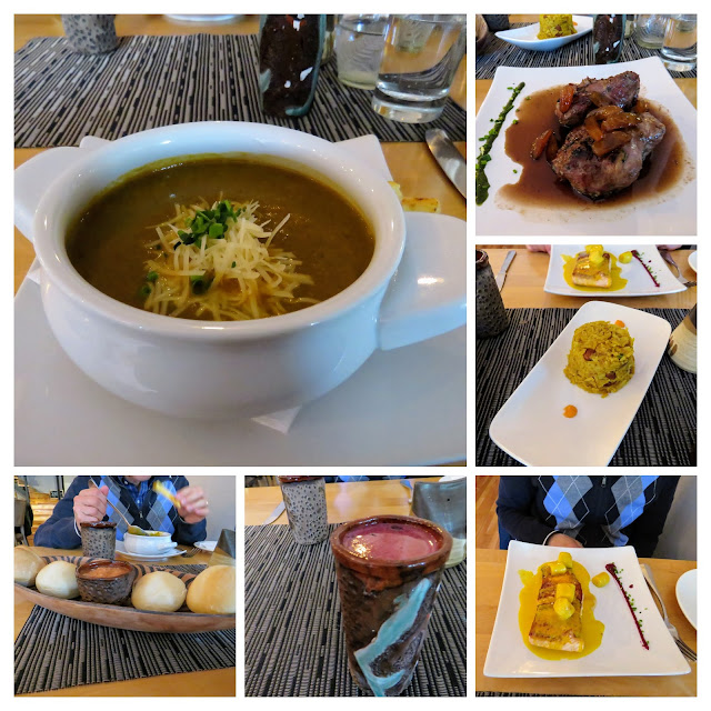Collage of dishes at Afrigonia Chilean Zambian Fusion restaurant in Puerto Natales Chile