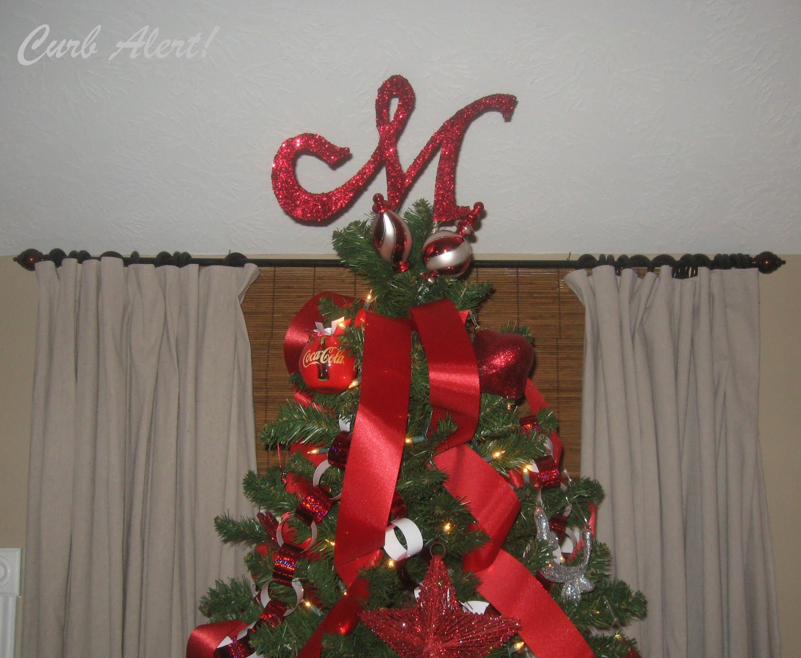 Curb Alert! : Glittery Monogram Tree Topper