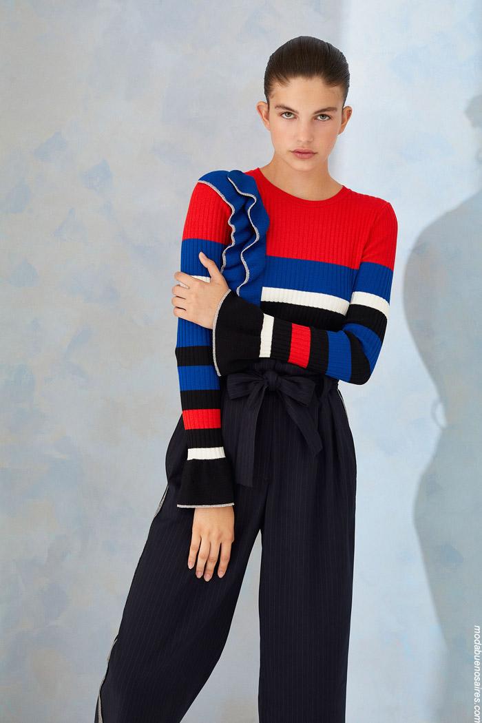 Sweaters tejidso con volados invierno 2019. Moda mujer invierno 2019.
