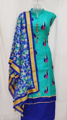 Attractive Cotton Satin Embroidered Suits | COD - cash on delivery available