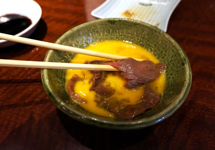 dipping beef in raw egg, Kyoto, Japan, Euriental