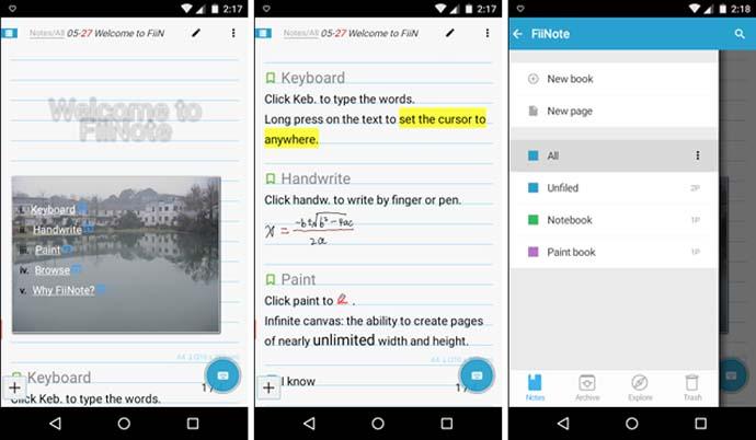 Aplikasi tulisan tangan dan catatan di android - Fiinote
