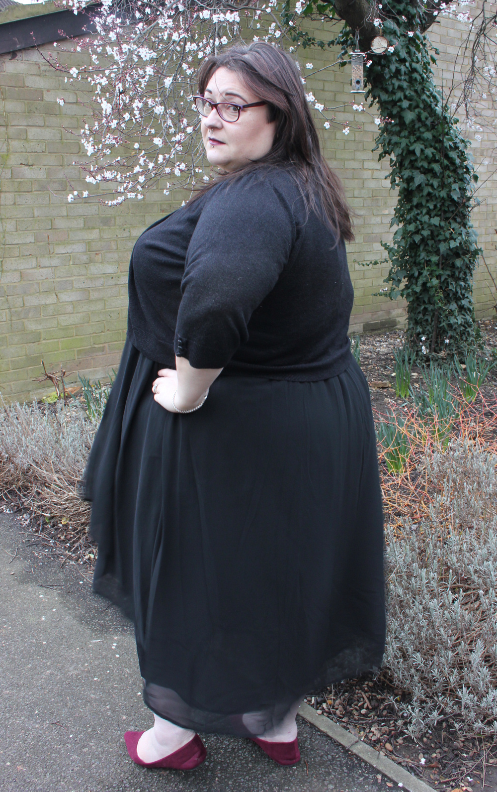 Zizzi wrap effect layered chiffon plus size black dress from Navabi