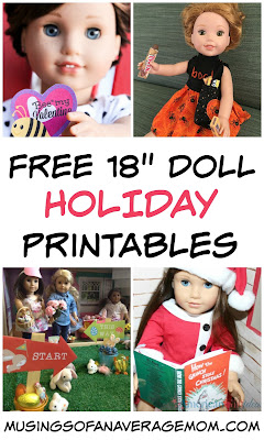 Holiday printables for My Life dolls