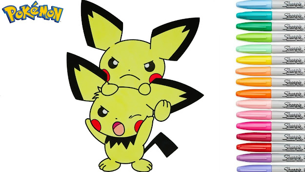 Pokemon Coloring Book Pichu Anime Colouring Pages Rainbow Splash Rscb