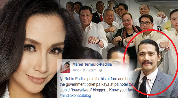Mariel Padilla fires back at 'yellow' blogger who called Robin a passenger junket