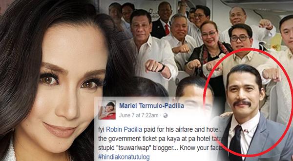 Mariel Padilla fires back at 'yellow' blogger who called Robin a passenger junket