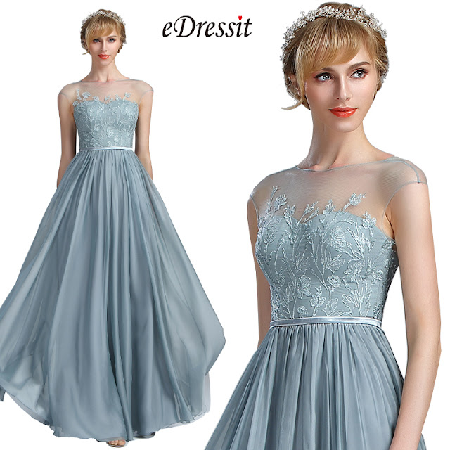 A-line evening dress with pleated skirt